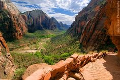 Angels Landing, one of the many hiking routes in Zion National Park in Utah. Awesomely terrifying towards the end and the most beautiful hike I have ever done. The pictures on the link truly captures the experience from each unique spot on the trail.