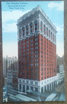 THE MASONIC TEMPLE, 23RD & 6TH AVENUE, NEW YORK CITY old postcard