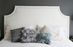 DIY Upholstered headboard with nailhead trim tutorial with pictures