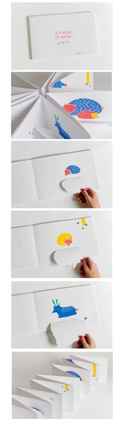 Il a neigé ce matin! - Steffie Brocoli, interesting interactive book, flaps seem simple to create. Again simplicity if effective especially muted colours other than animals.