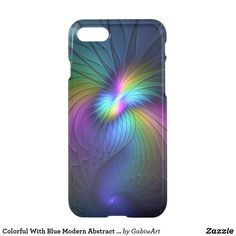 Colorful With Blue Modern Abstract Fractal Art iPhone 8/7 Case