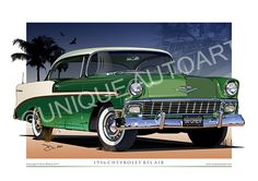 New to Unique Autoart is the classic 1956 Chevrolet. Our Chevrolet prints are the creation of Australian automotive artist Dion Mifsud. Big Girl Toys, Girls Toys, General Motors Cars, Car Prints, Drawing Frames, Car Illustration, Chevrolet Bel Air, Car Drawings, Automotive Art