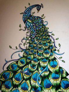 peacock art by rachelsbespokeart on Etsy