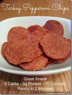 Turkey Pepperoni Chips Recipe - 0 carbs, 9g protein, 70 calories, ready in 2 minutes
