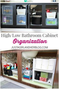 Love these tips for organizing the bathroom cabinets! You don't have to spend a ton of money to do it!   JustAGirlAndHerBlog.com
