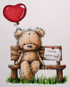 Copic Marker Europe: Waiting For You – Funky Kits image – Fur: Bench; is creative inspiration for us. Get more photo about home decor related with by looking at photos gallery at the bottom … Teddy Bear Images, Teddy Bear Pictures, Bear Drawing, Tatty Teddy, Cute Teddy Bears, Bear Art, Hug Quotes, Copic Markers, Cute Love