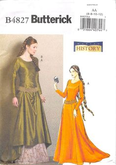 BUTTERICK 4827 - UNCUT - MISSES MEDIEVAL DRESS AND BELT