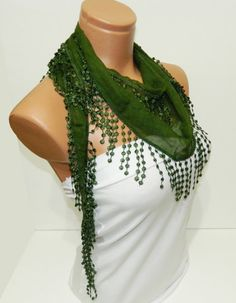 Green Scarf Turkish Fabric Fringed Guipure by WomanStyleStore, $16.00