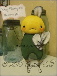 anthropomorphic Daisy standing Flower Doll Whimsical by emsprims