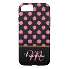 #Black and Pink Polka Dots  Name and Monogram iPhone 7 Case - #girly #iphone #cases