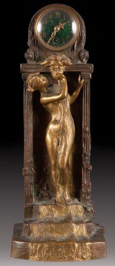 Karl Korschann (French, 1872-1943). Art Nouveau bronze figural clock, 1897