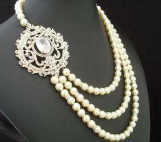 Bridal Pearl Necklace, Ivory Swarovski Pearls, Rhinestone Bridal Necklace , Statement Bridal Necklace, Brooch Necklace, MYRTLE