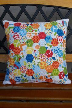 One inch hexies make a fun pillow! #zenchic fabric