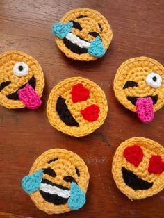 Set of 3 Crochet Emoji Magnets by StringTheoryC on Etsy - Funny and crazy crocheted smilies.Discover thousands of images about Emoji magnets - fun!Super cute and a little bonkers, these tiny and detailed little chaps will brighten your fridge, magnet Appliques Au Crochet, Crochet Motif, Crochet Flowers, Crochet Stitches, Crochet Patterns, Ravelry Crochet, Crochet Gifts, Cute Crochet, Fast Crochet