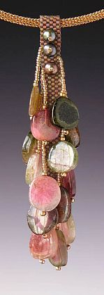 """Kay Bonitz-'KBZ 266 Watermelon Tourmaline, freshwater pearls, Japanese delica and seed beads Necklace w/ Gold plated brass 16"""" cable'-Red Sky Gallery"""