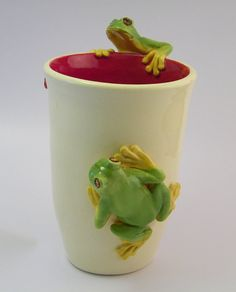 Wheel Formed Vase / Vessel Featuring 2 Hand Sculpted Frogs & Ladybugs by HopnFrogPottery