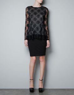 LACE SWEATER WITH PLEATED HEM - Knitwear - Woman - ZARA