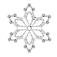 diagram … … – Snowflakes World Crochet Snowflake Pattern, Christmas Crochet Patterns, Crochet Christmas Ornaments, Crochet Stars, Crochet Snowflakes, Christmas Snowflakes, Thread Crochet, Crochet Motif, Irish Crochet