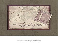 """I saw it done by Marjori Miller who cased it from Anna Wight. I love LAAT and then added F Friends from A is for Adorable. I'm not too happy with the """"spots"""" and will try the splatter technique on future versions of this card. Thank You Friend, Stampin Up, Vintage World Maps, Paper Crafts, My Love, Friends, Happy, Cards, Amigos"""