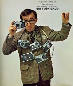 Woody Allen Poses with a Bunch of Rangefinders for Playboy Don't worry, he's not naked. Back in their May 1966 issue, Playboy took a closer look at the then-current and upcoming camera gear, with. Celebrity Photographers, Famous Photographers, Woody Allen, Vintage Poster, Vintage Ads, Photography Camera, Vintage Photography, Por Tras Das Cameras, Foto Picture