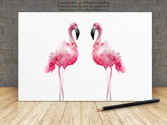 Flamingo Pink Home Decor Gift Idea. Two Flamingos Watercolor Painting. Type of paper: Prints up to inch size are printed on Archival Acid Free White Watercolor Fine Art Paper and retains the look of original painting. Flamingo Painting, Flamingo Art, Watercolor Bird, Watercolor Paintings, Abstract Flower Art, Flower Nursery, Pink Home Decor, Minimalist Painting, Pink Bird