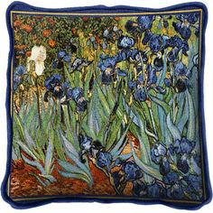 Blue Irises Abstract Floral Garden Tapestry Throw Blanket by Vincent Van Gogh