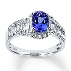 14K White Gold Diamond & Tanzanite Ring @Jareds   http://m.jared.com/en/jaredstore/gemstones/14k-white-gold-diamond--amp%3B-tanzanite-ring-373155100--1/100237/100237.100238.100299