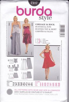 FREE US SHIP Burda 7317 Sewing Pattern Evening Length Dress Gown Bustier  Size 6 8 10 12 14 16 18 20 Bust 30 31 32 34 36 38 40 new by LanetzLiving on Etsy