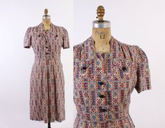 40s Ethnic Folk Art Print Cotton DAY DRESS / 1940s Shirtwaist Dress with Puff Sleeves & Cute Buttons L #40sfashion #shirtwaist #puffsleeves