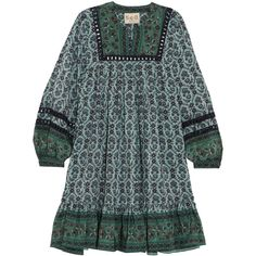 SEA Allura printed guipure lace-trimmed silk crepe de chine mini dress (8.230.855 IDR) ❤ liked on Polyvore featuring dresses, short boho dress, silk dress, short green dress, green mini dress and green dress