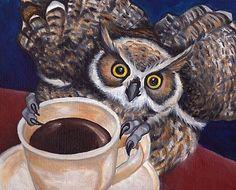 810 HORNED OWL & Coffee ORIGINAL Oil Painting Bird Raptor Art by VERN