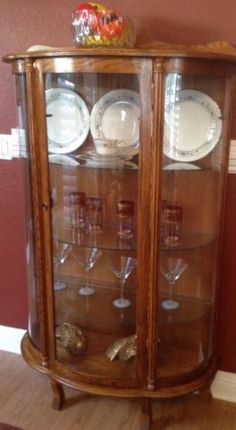 Vintage Curio China Cabinet half-round with curved glass and original key at California Favorites 4 U