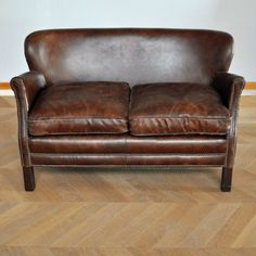 2 seater Chesterfield leather button sofa in brown