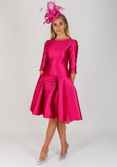 59b3655eec8eef Fely Campo Pleat Trim Flared Silk Dress
