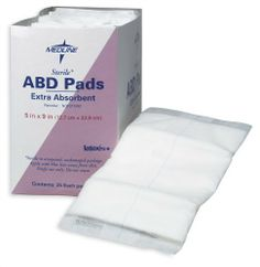 Abdominal (ABD) Pads, 5x9, Sterile (case of 400) by Medline. $55.59. Abdominal (ABD) Pads, 5x9, Sterile (case of 400)Quantity: 1 CS = (400 EA/CS,16 BX/CS)Recommended Billing Code (HCPCS): A6252 Medline Abdominal (ABD) Pads: MedlineÆs super absorbent abdominal pads feature a soft non-woven outer layer that quickly wicks fluid to a cellulose center. This thick layer of cellulose quickly absorbs and disperses fluids laterally to prevent pooling. Hydrophobic back impedes...