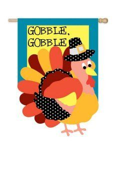 """Gobble It Up Thanksgiving House Flag by House-Impressions. $26.17. Fade-resistant colors. Hand-crafted. Approximate dimensions are 29"""" x 43"""". Made of high quality fabric materials. Flags are the greeting card of your home! Add a piece of colorful and welcoming décor to your outdoor setting with one of these flags. Made of durable materials, the vibrant colors in this flag will last for years to come."""