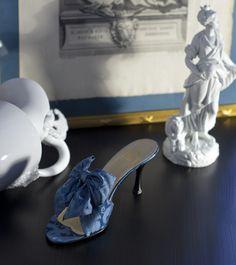 """""""Un Regard Baroque"""" in Rubelli peacock silk brocade http://store.leschaussonsdelabelle.com"""