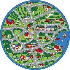 Grey Rugs  u ROUND KIDS CHILDREN STREET MAP GREY LARGE AREA RUG FOR CARS TRUCKS NON SKID