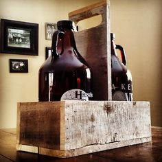 Pallet wood growler carrier.