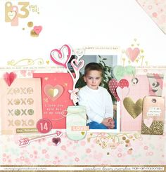 Happy Valentine's Day - by @maldonadomas for @paperissuesteam using @crate_paper #layout #scrapbookinglayout #kisskiss