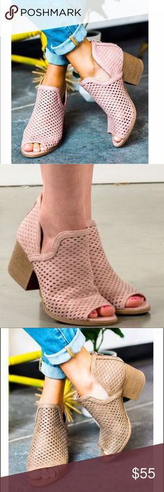 JUSTINE Peep Toe Booties - BLUSH So perfect for summer! Super comfy!  Available in blush, taupe & grey.   PRICE FIRM Shoes