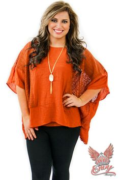 Be My Clementine Poncho - $44.95 - This adorable poncho styled top in brilliant clementine color, is the perfect poncho for your fall wardrobe. This loose fitting crochet poncho is comfortable and stylish all in one! Pair it with leggings or jeans!  | available at http://www.envyboutique.us/shop/clementine-poncho/ |  #Envy #Boutique #fashion #fashiontrends