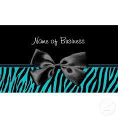 Trendy Black And Teal Zebra Print With Ribbon Business Cards
