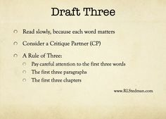 Writer's World: Third Draft Woes.  This is a great series of blog articles about the stages of writing with tips and encouragement.