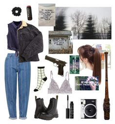 """""""nancy wheeler"""" by homeboys ❤ liked on Polyvore featuring Topshop, Chicnova Fashion, Levi's, Dr. Martens, NARS Cosmetics, Fuji, Burt's Bees and StrangerThings"""