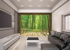Woodland forest mural in a room