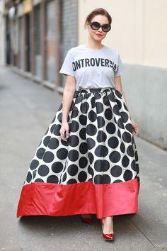 A dramatic full skirt. #Streetstyle #MFW Fall 2014