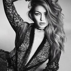 Gigi Hadid looks pretty in lace in the December 2016 issue of Vogue Japan. Photographed by Luigi & Iango
