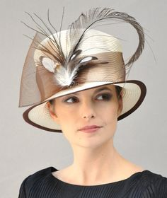 Kentucky Derby Hat, Women's Brown Hat, Ivory Cream Hat. Formal Hat, Top Hat, Feather Hat, Ascot Hat, Special Occasion Hat Vintage Style Hat