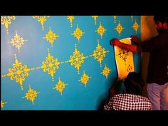 Wall stencil Kayra Decor latest design gaffartech - YouTube Stencil Painting On Walls, Texture Painting, Spray Painting, Stencil Designs, Paint Designs, Deco Paint, Asian Paints, Chandigarh, Interior Walls